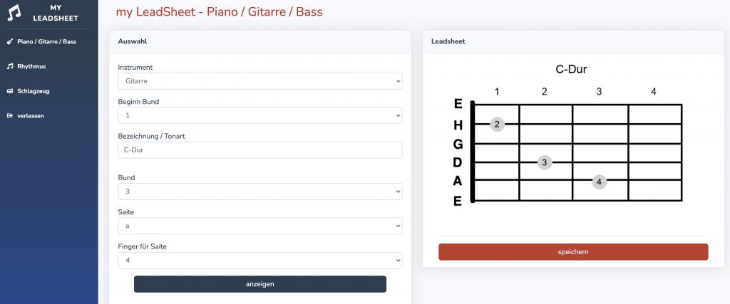 Die Leadsheet-Grafik kann beliebig bezeichnet werden und wird automatisch generiert.
