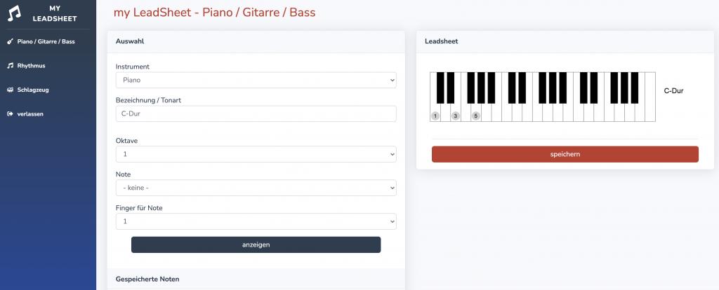Einfache Maske, in der für Piano, Gitarre und Bass die Akkorde samt Finger eingegeben werden.