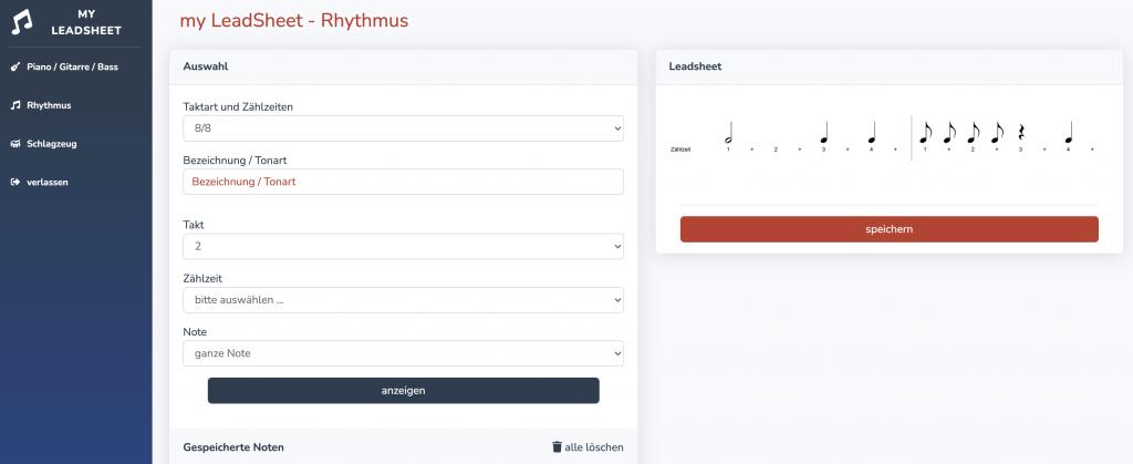 Geben Sie den richtigen Rhythmus vor. Auch hier stehen Ihnen zahlreiche Taktarten von 2/4 bis 16/16tel zur Verfügung. Setzen Sie Noten (ganze bis 16tel Noten), punktierte Noten und Pausen in bis zu vier Takte.